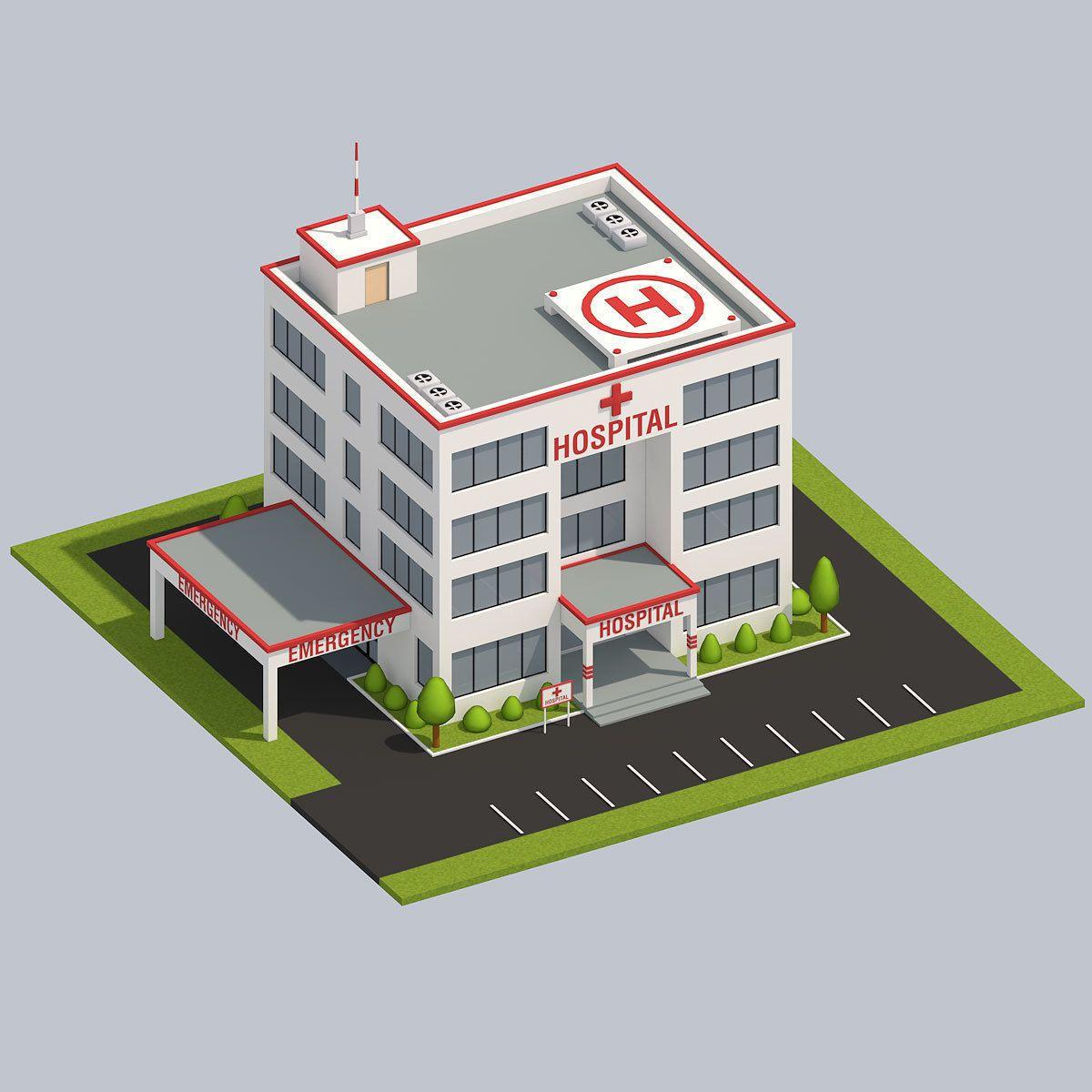 Low poly hospital 3d model casas minecraft