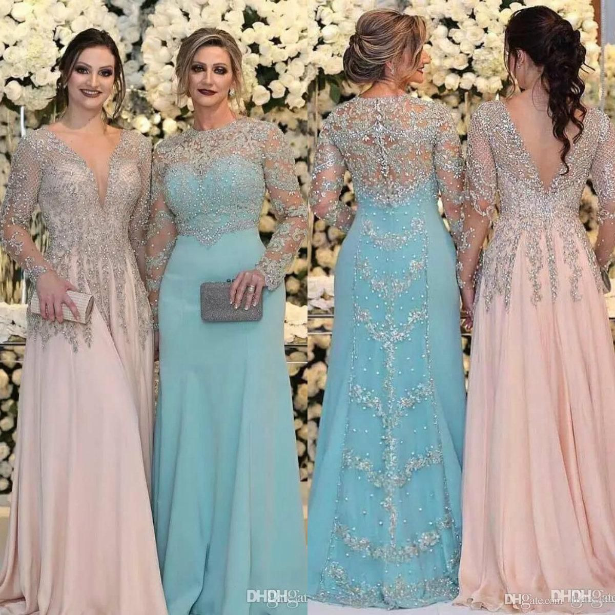 2018 Sexy Mother Of The Bride Dresses Jewel Neck Long Sleeves Silver Beaded Lace Appliques Beaded Chiffon Plus Size Party Dress Evening Gown Mother Of The Groom Dress Plus Size Mother Of The Groom Dresses Petite From Haiyan4419, $179.4| DHgate.Com #groomdress