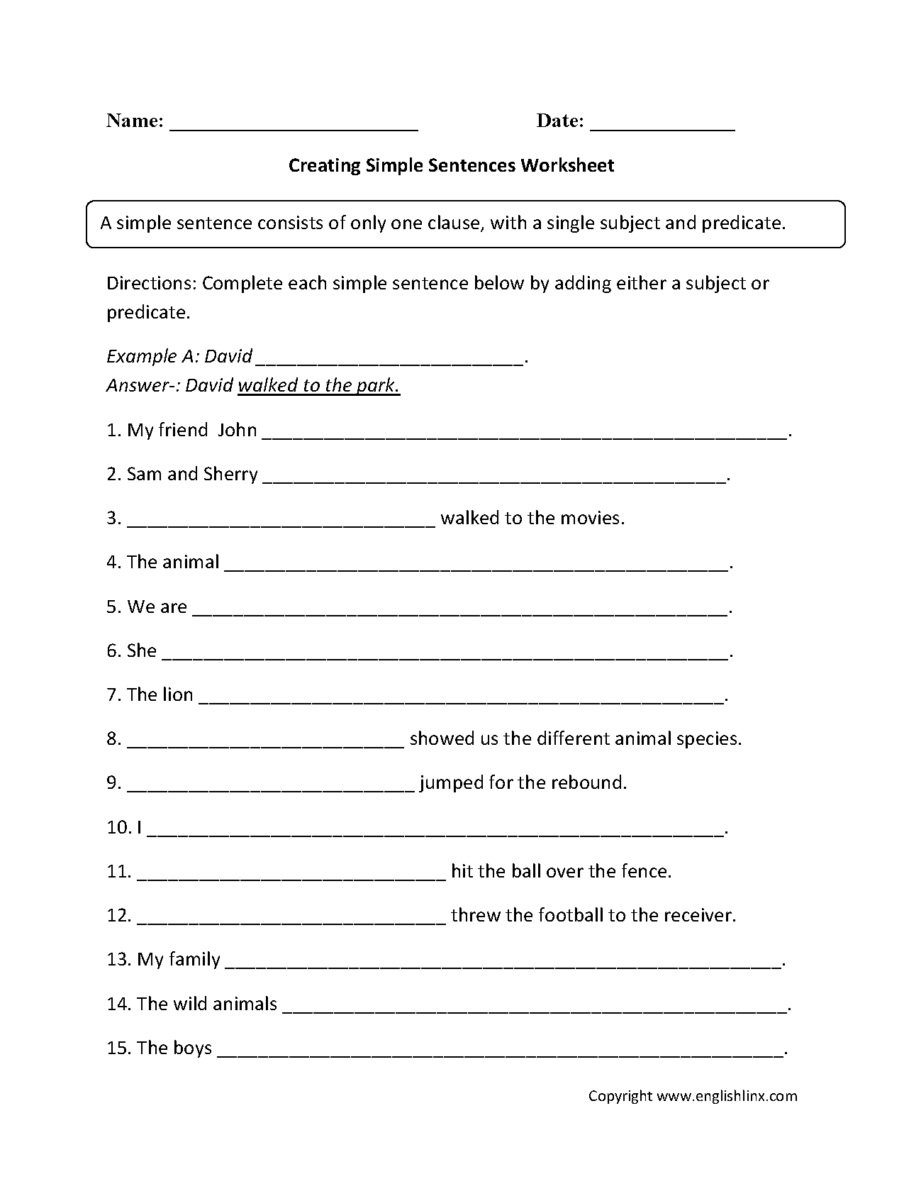 Creating Simple Sentence Worksheet