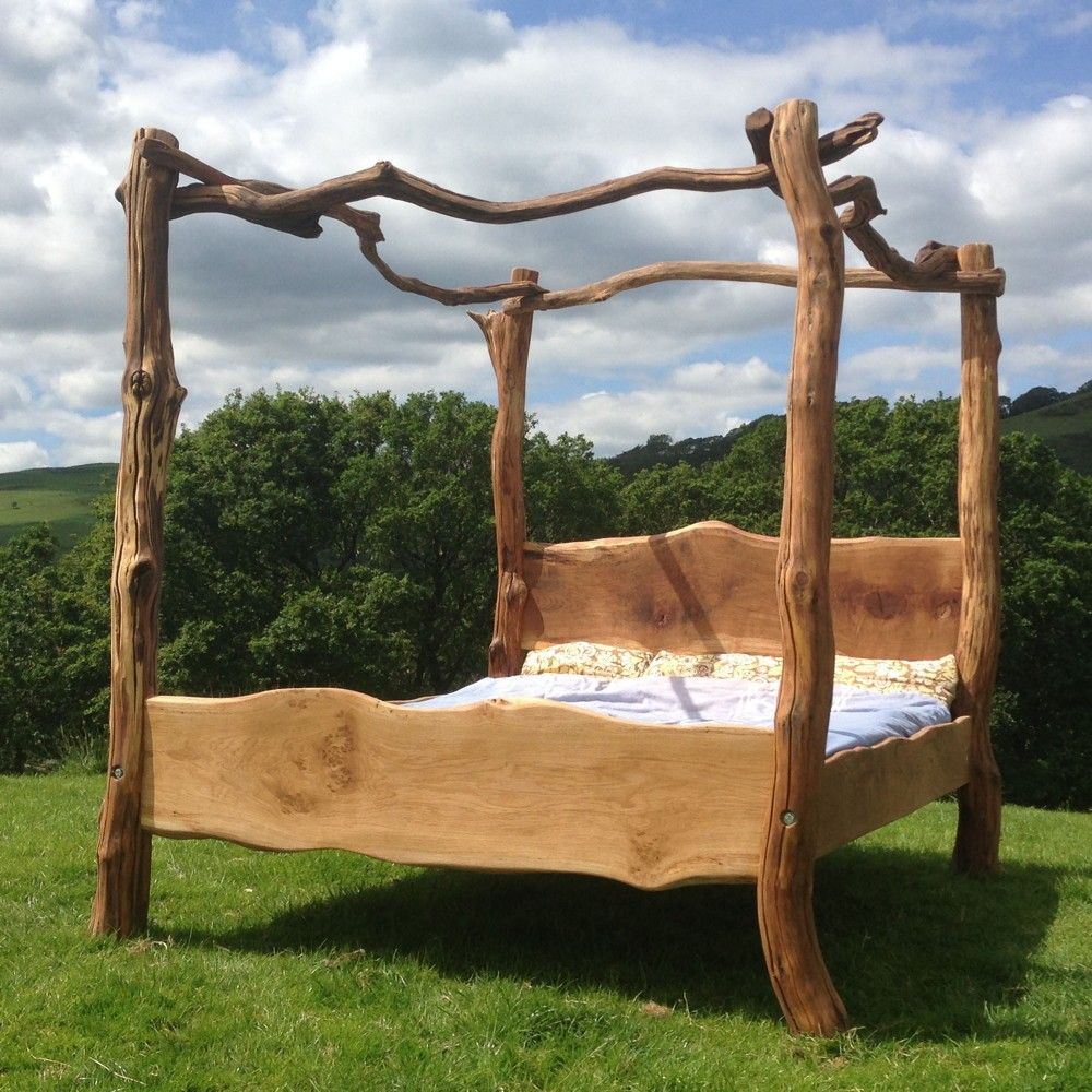 Rustic Oak Four Poster Tree Bed Tree bed Bedrooms and Rustic