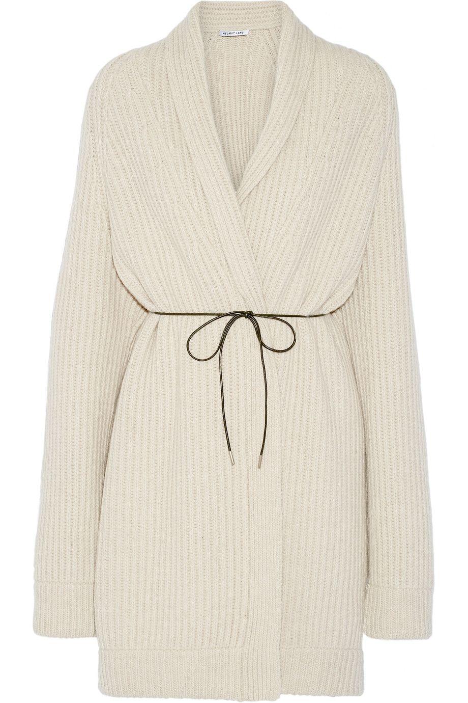 HELMUT LANG Oversized Belted Wool-Blend Cardigan. #helmutlang ...