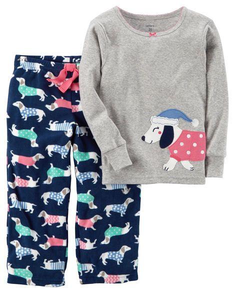 2310cf012 2-Piece Dog Cotton   Fleece PJs