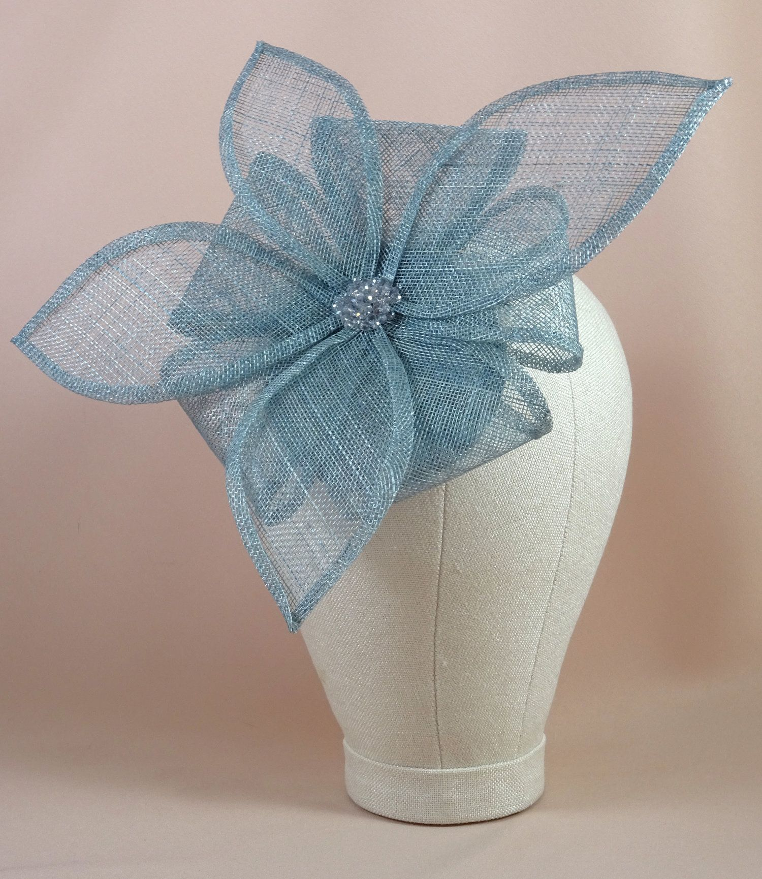Lindy - Duck egg blue flower fascinator — Warrillow Studio