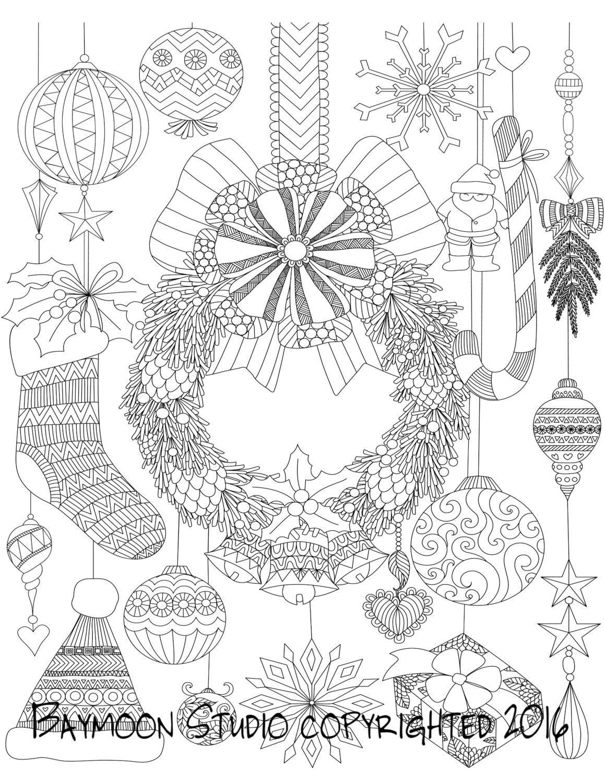 Colgante corona de Navidad para colorear página por BAYMOONSTUDIO ...