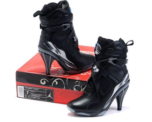 new concept de11c 3b0c6 jordan heels for women 2014   Womens Air Jordan 8 High Heels Black Grey