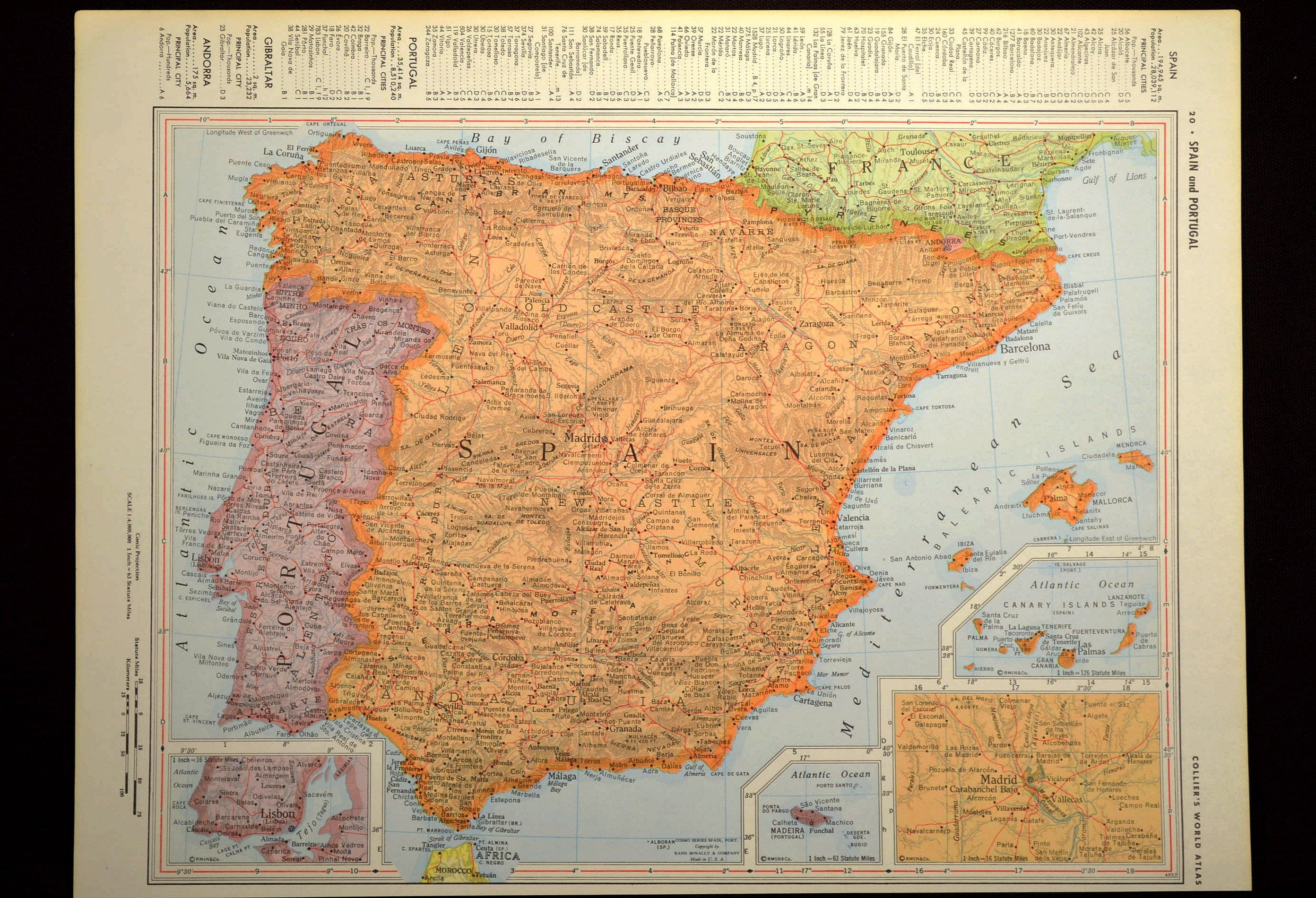 Map Of Spain Zamora.Spain Map Of Spain Wall Decor Art Vintage Portugal Map Orange Gift