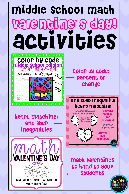Middle School Math Valentine Bundle In