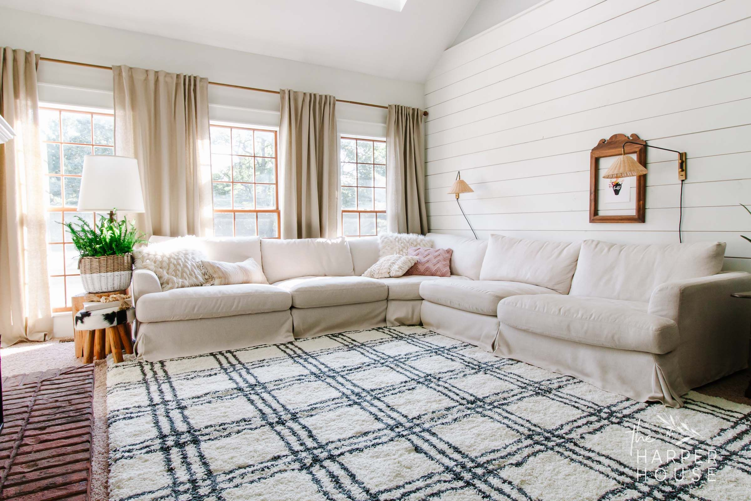 Black White Rug And Affordable Fall Favorites The Harper House Farm House Living Room Rugs In Living Room White Rug Living Room