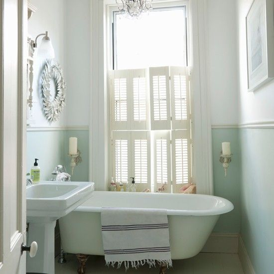 Pastel Green Bathroom With Freestanding Bath
