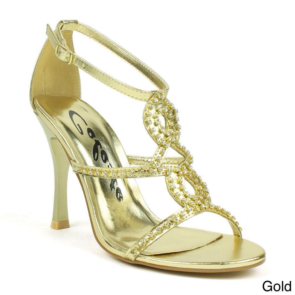 Celeste Women's 'Charlize-02' Rhinestone T-strap Heels