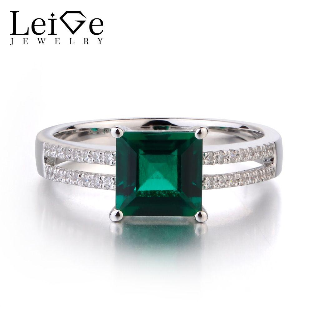 3de02b6ab0 Leige Jewelry Lab Emerald 925 Sterling Silver Ring Princess Cut ...