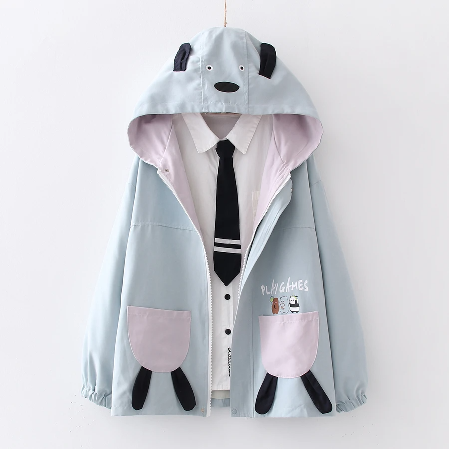"""Kawaii """"We Bare Bears"""" Lavender Hoodie Jacket"""