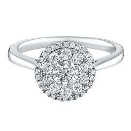 3 4 Ct Tw Diamond Cluster Halo Ring In 14k Gold Shop