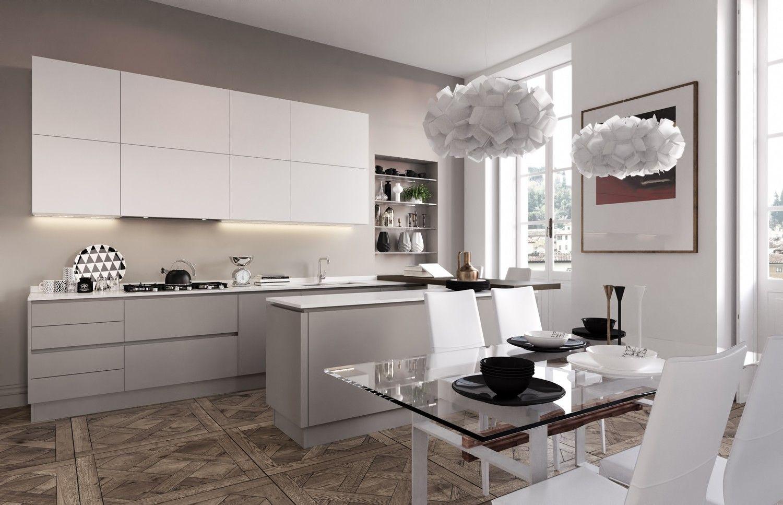 cucina lineare con isola - Cerca con Google | cucina ad U con snack ...