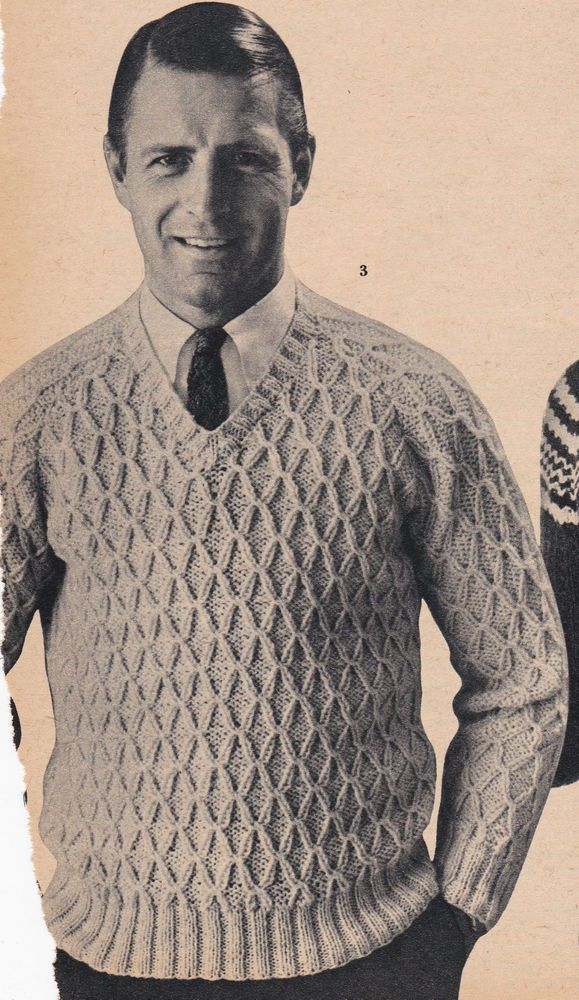6f4d2567d272f4 Vintage Knitting Pattern Instructions to Make a Mens Jumper Retro 1950 s 3  Sizes
