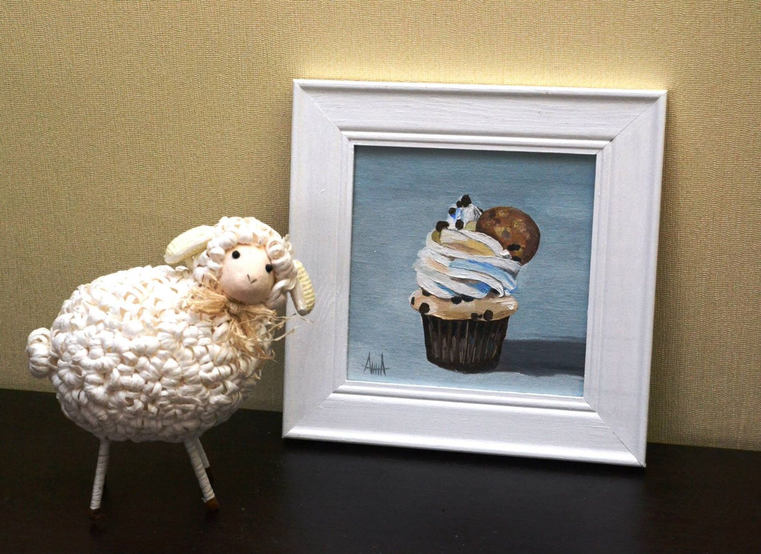Cupcake oil painting 6x6 15x15 cm on panel in white wooden 6x6 15x15 cm on panel in white wooden frame jeuxipadfo Choice Image