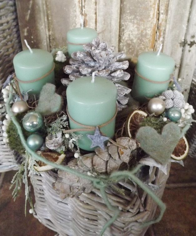 Photo of here I have a cozy, natural looking Adbventk wreath in mint nature …