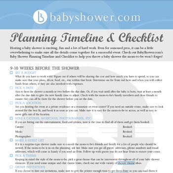 our printable baby shower planning timeline and checklist will help