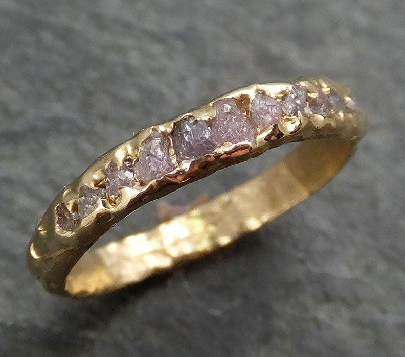 Custom Raw Rough Uncut Pink Diamond Multi stone Wedding Band 14k