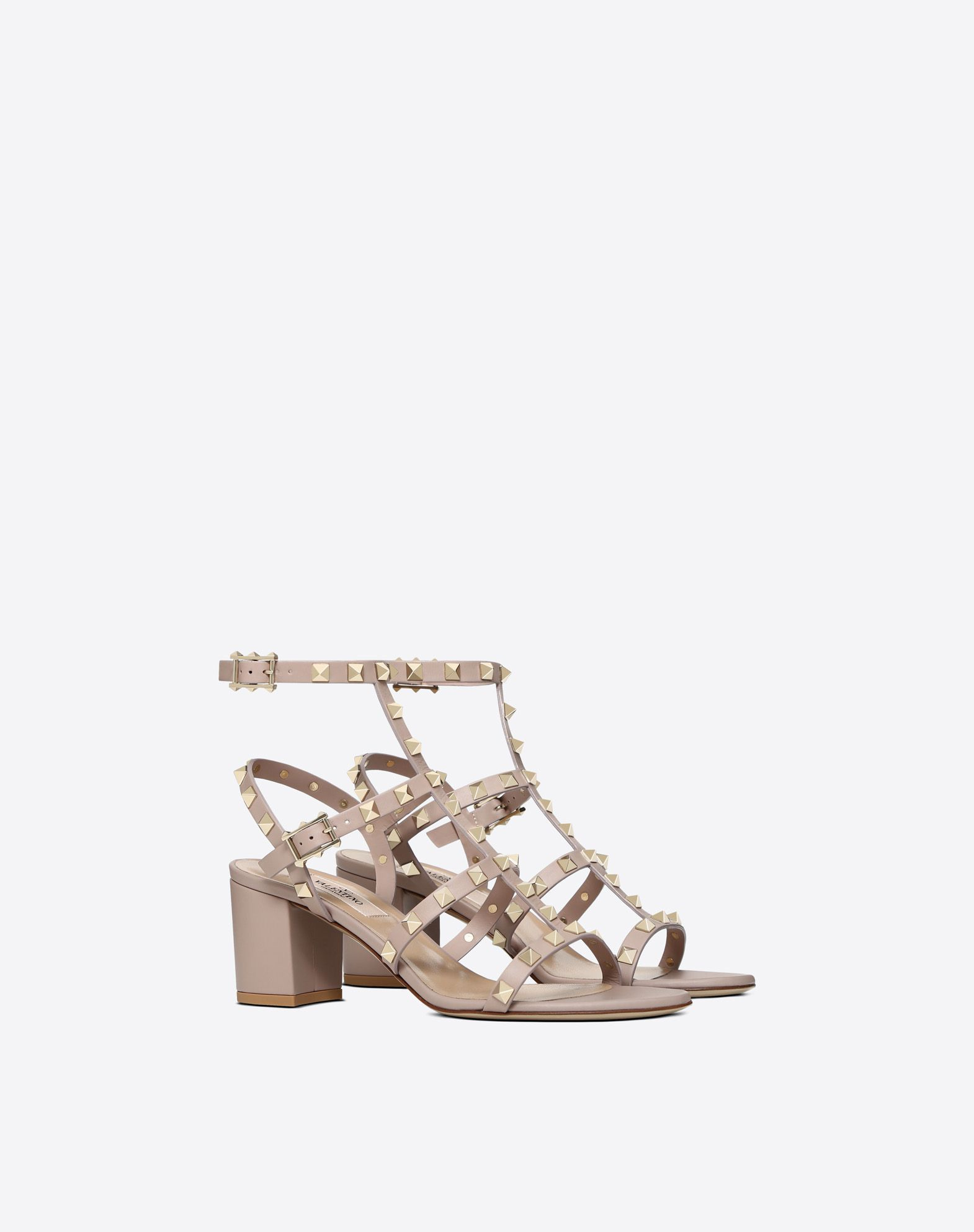 202fefc337 Rockstud 60mm block heel cage Sandal for Woman | Valentino Online Boutique