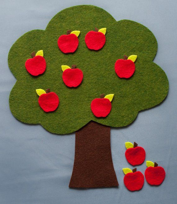 Apple Red Nursery Rhyme: Ten Red Apples FELT BOARD Rhyme GAME Adding And