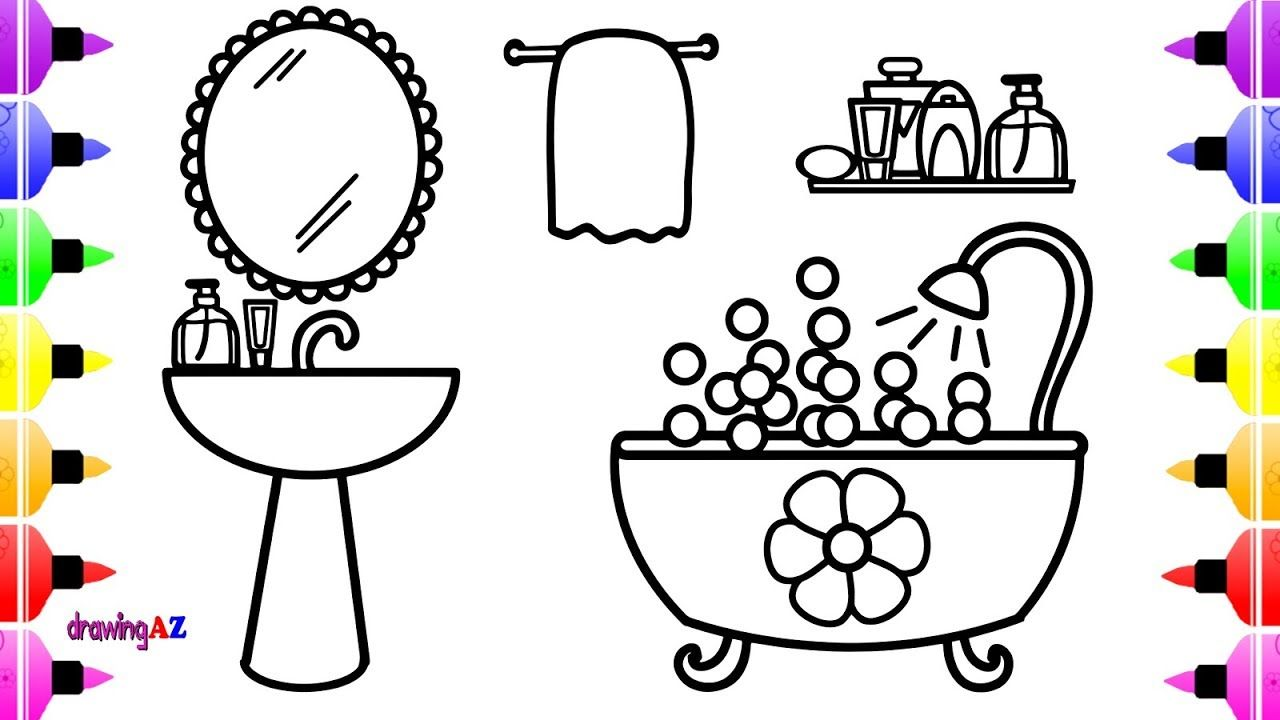 How To Draw Bathroom For Kids And Cute Coloring Pages For Children With Colored Marker Cute Coloring Pages Coloring Pages Unicorn Coloring Pages