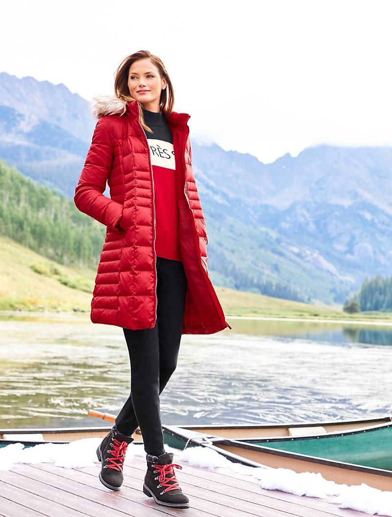 Hooded Down Puffer Coat Talbots Bright Winter Outfits Casual Chic Outfit Puffer Jacket Outfit [ 1057 x 800 Pixel ]
