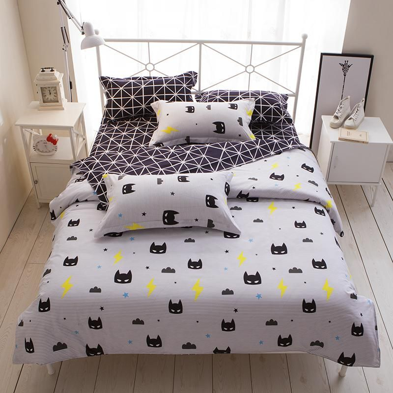 Charmant Cartoon Stripe Batman 3/4pcs Bedding Sets/bed Set/bedclothes For Kids/bed  Linen Duvet Cover Bed Sheet Pillowcase,twin Full Queen
