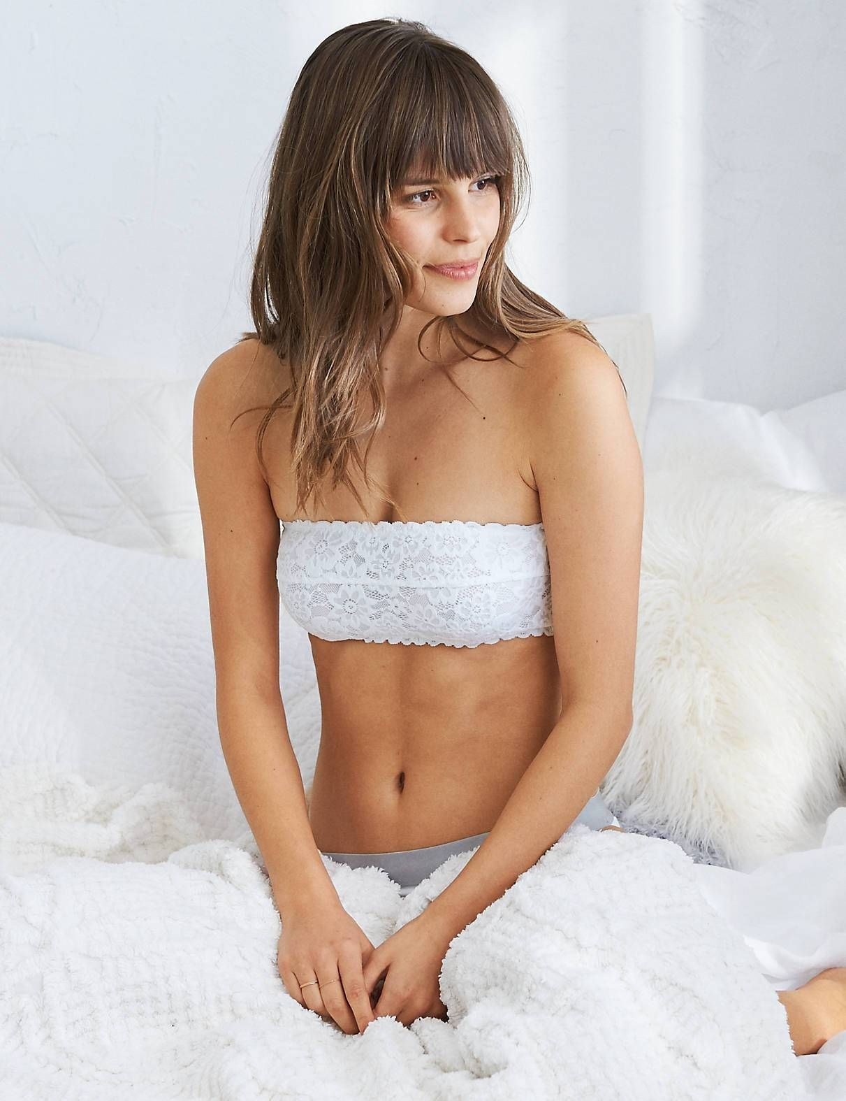 Happy Unlined Bandeau Bra White Aerie For American Eagle