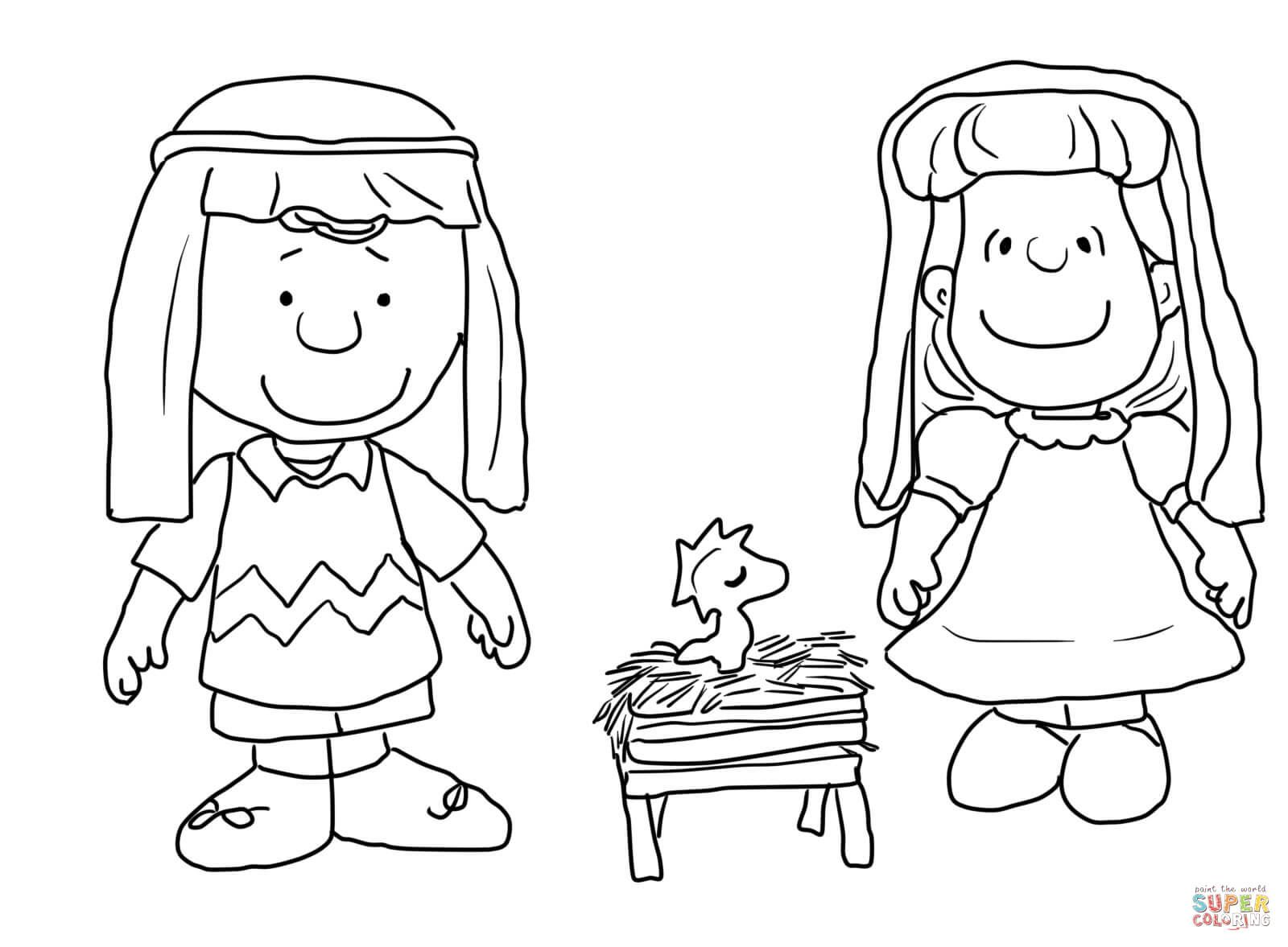 Charlie brown christmas nativity super coloring charlie brown