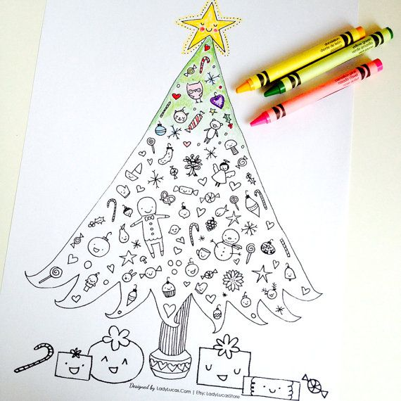 Christmas Tree Coloring Page For Adults Or Kids