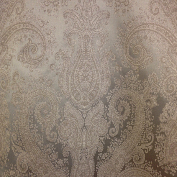 Kashmir Vapor Gray Paisley Look Faux Silk Drapery Fabric Sw50000 By The Yard
