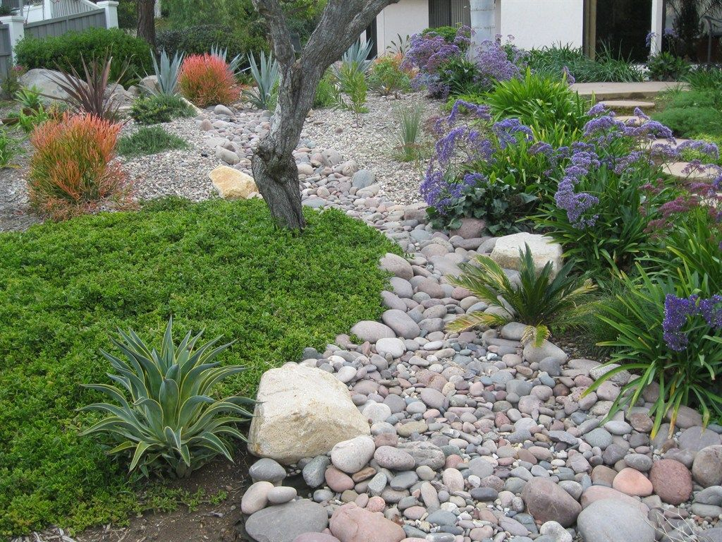 Dry river beds gardens dry riverbed pinterest dry for Rock garden bed ideas