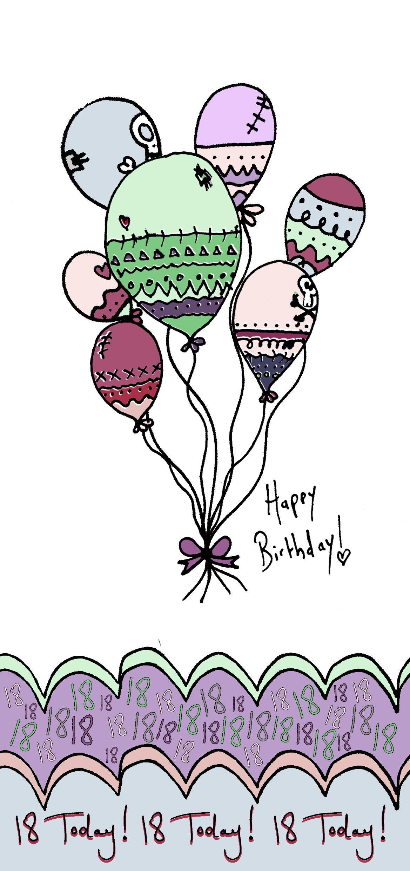 Card design illustration hand drawn digitally coloured 18th card design illustration hand drawn digitally coloured 18th birthday deadly creations kristyandbryce Images
