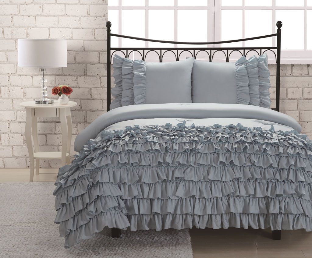Blue bedroom sets for girls - Twin Miley Mini Ruffle Comforter Set Blue