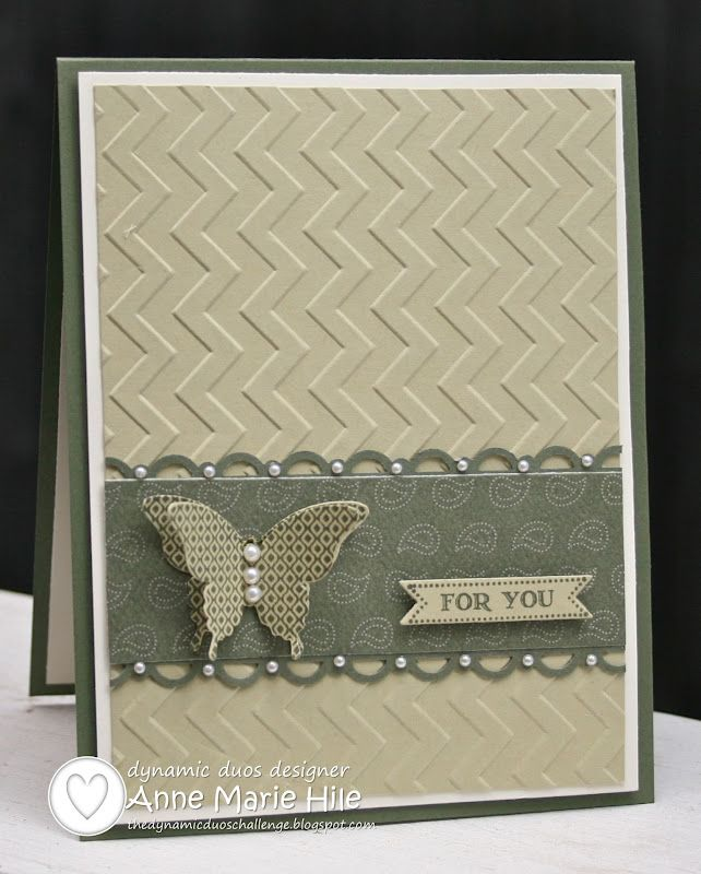 Anne Marie Hile has me rethinking the Chevron embossing folder. I had decided I didn't really care for it much. Ummmm...sure looks nice here. OH! And her cute kitty, Miss Abby, that can be seen in several places on her blog is darling too.