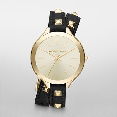 a1ecedaefcf9 Michael Kors Black Pyramid Stud Slim Runway Watch