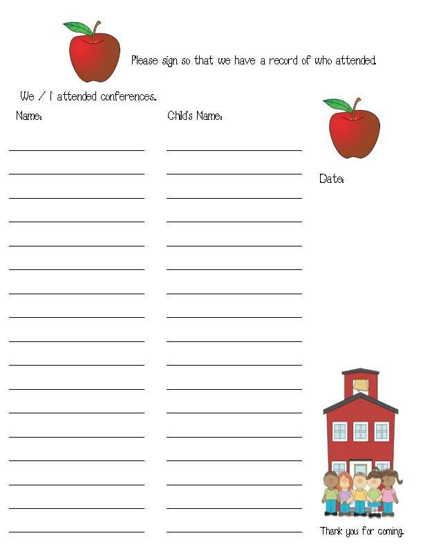 parent teacher conference tips, parent teacher conference signs - food sign up sheet template
