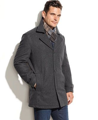 London Fog Big and Tall Wool-Blend Walking Coat with Scarf - Coats ...