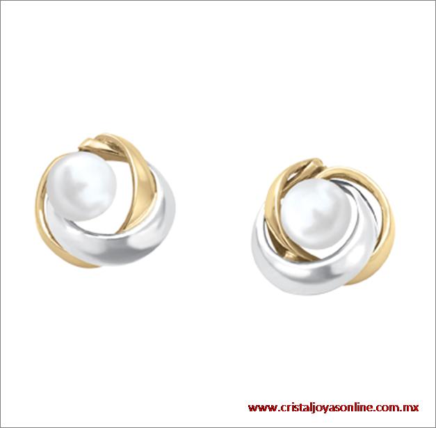 Aretes oro bicolor 14k con perlas de venta en www.cristaljoyasonline.com.mx