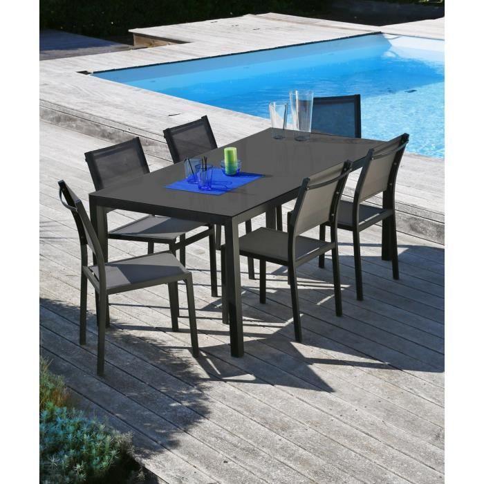 Oman ensemble table et chaises aluminium 6 places noir - Ensemble table et 6 chaises ...