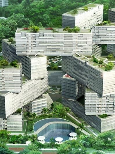 "The Interlace, Singapore. This ""large-scale complex takes a more expansive and interconnected approach to living through communal spaces which are integrated into its lush surrounding greenbelt."""