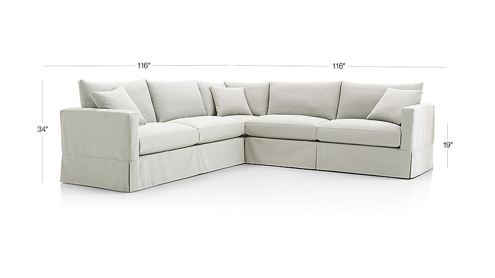 Willow 3 Piece Modern Slipcovered Sectional Reviews Crate And Barrel Sectional Slipcover Sectional Slipcovers