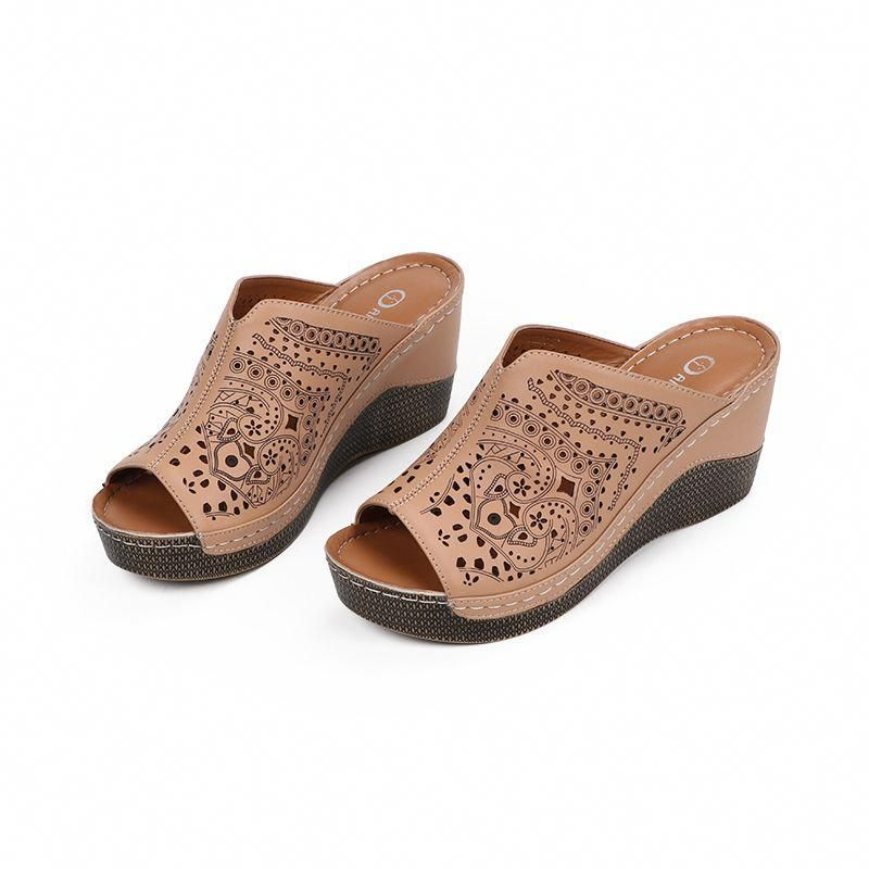 a2078e51f1 Women's Fashion Platform Wedge Slipper Heels - Brown outfit cute Casual For teens  High Heels Womens Accessories Ballet Gift Ideas Fashion Ladies For Girls ...