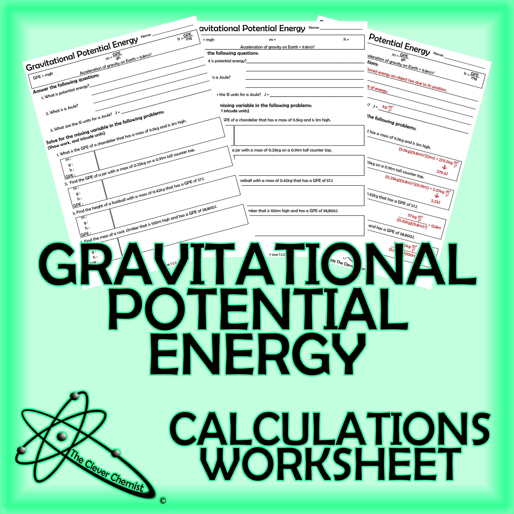 Gravitational Potential Energy Worksheet | Physical Science ...