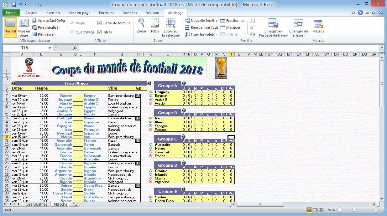 Calendrier De La Coupe Du Monde De Football 2018 Sur Excel Coupe Du Monde Football Coupe Du Monde De Football 2018 Coupe Du Monde