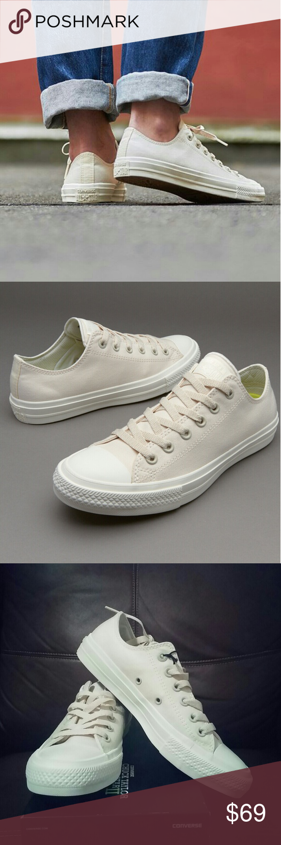 30fe650effac1 NWT Converse Chuck II 2 Cream Low Top w  Lunarlon - New in box! - Great  Spring neutral for everyday use! - Converse Chuck Taylor II with Lunarlon  insoles ...
