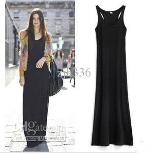 896e8f1c4b4c Wholesale Long Dress - Buy Free Shipping 2012 New Hot Sexy Casual Ladies  Fashion Black Sleeveless Chiffon Tank Long Dress