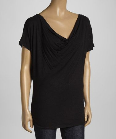 Look what I found on #zulily! Black Cutout Ruched V-Neck Top by Loveappella #zulilyfinds