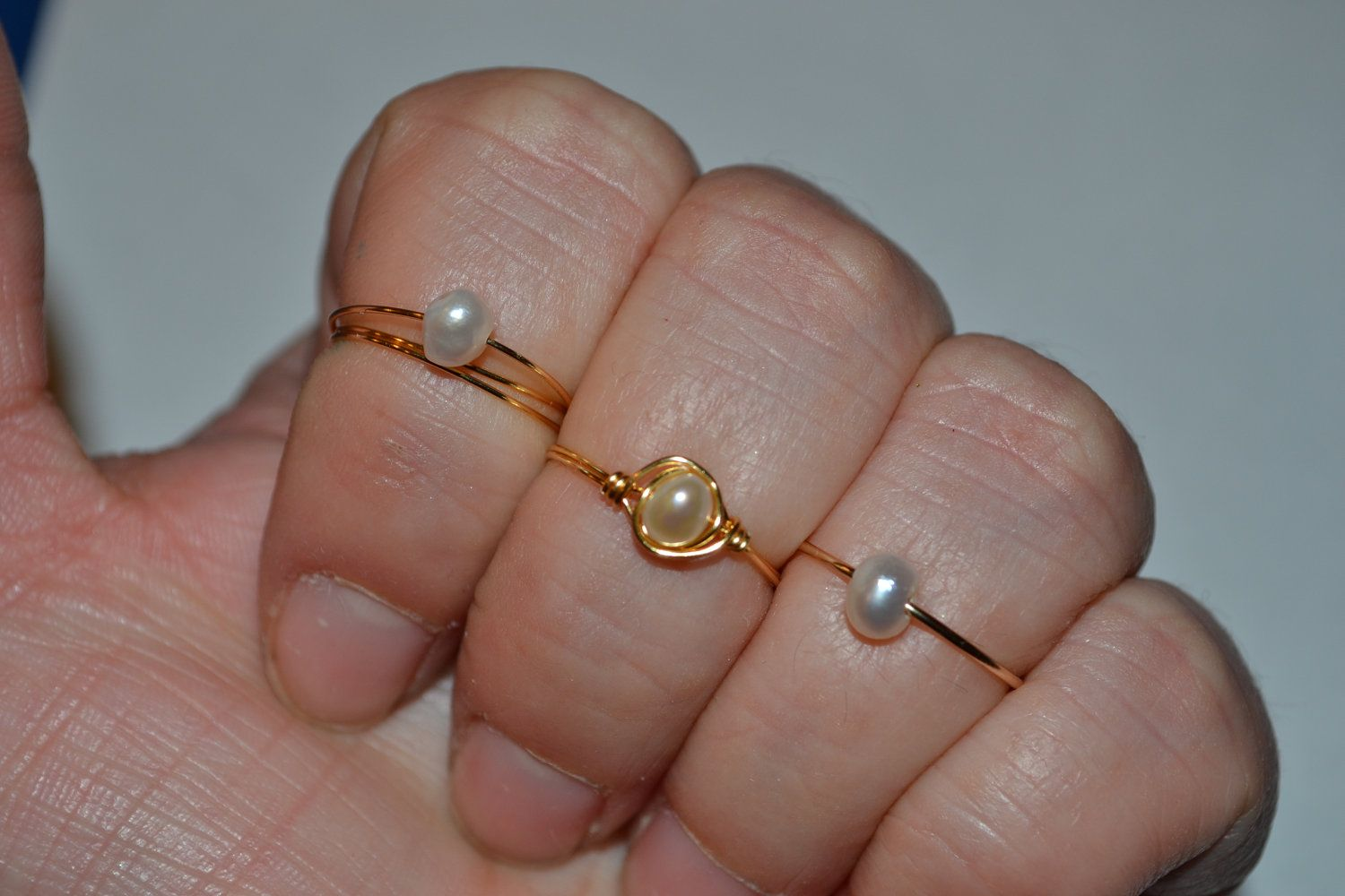 Pearl Above the Knuckle Ring or Regular Ring Freshwater Pearl- Simple Delicate Dainty Tiny ring- Simple Delicate Dainty Minimalist Hipster. $18.00, via Etsy.